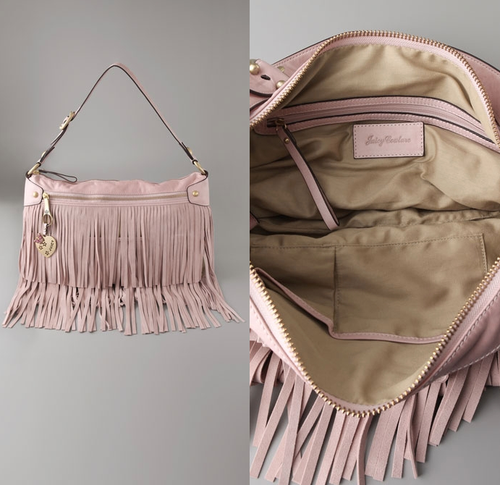 Juicy couture pink fringe handbag